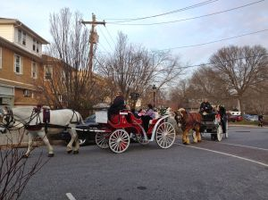 A romantic sight in downtown Swarthmore - horse-drawn carriages return to our streets for one day each year!