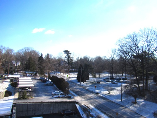 Snowy view from the balcony of unit 709 at the Strath Haven!