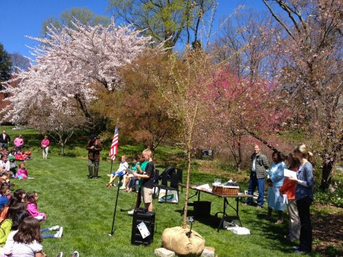 Swarthmore-Rutledge Elementary School celebrated Arbor Day on the college campus!
