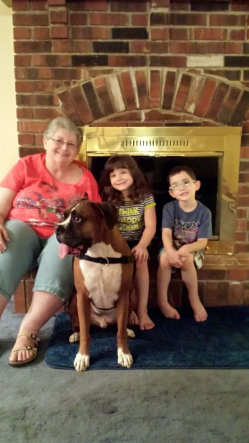 Grandma and the kids (including the grand-pup)!