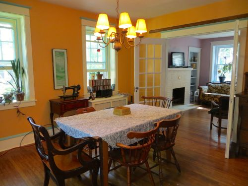 Playful colors bring warmth to the formal dining room...