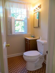 The second floor full bath has a shower stall