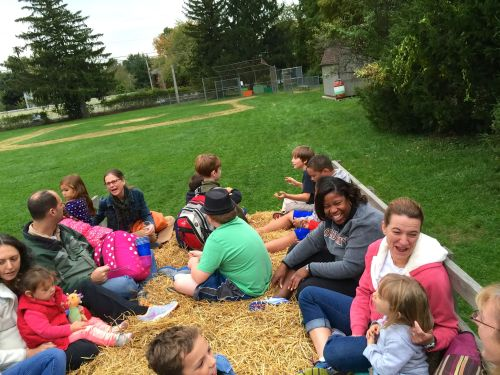 And magical hayrides around the field! (SRS principal, Dr. Tuck, came along for every ride, greeting every child by name!)