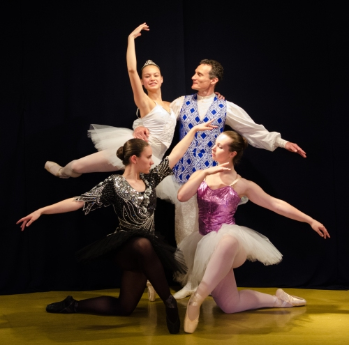 Sleeping Beauty is anything but drowsy with these dancers on the job! Standing: Anna Si as Aurora with Donn Guthrie as her Prince, Kneeling: Anna Morreale as Carabosse and Arbour Guthrie as the Lilac Fairy